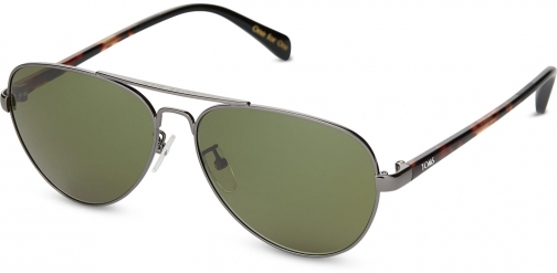 Toms Maverick 201 Gunmetal With Glass Bottle Green Lens Sunglasses