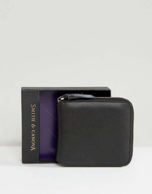 Asos Smith And Canova Zip Round Leather Wallet