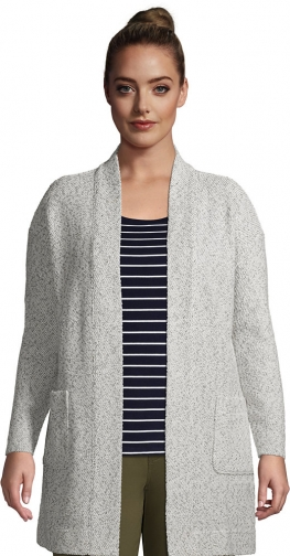 Lands' End Women's Plus Size Long Sleeve Textured Open - Lands' End - Ivory - 1X Cardigan
