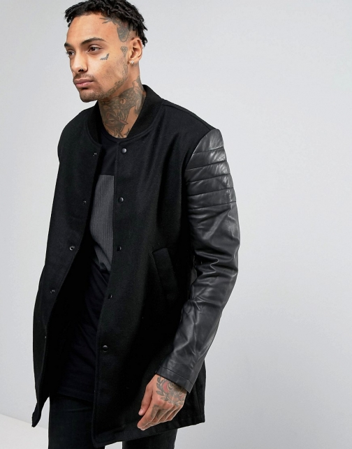 Religion With Leather Sleeves Jacket