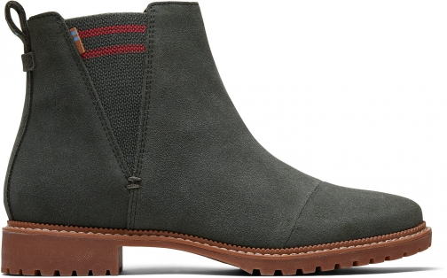 Toms Water Resistant Dusty Olive Green Suede Women's Cleo Boot