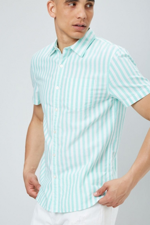 21 Men Pinstriped Fitted Oxford At Forever 21 , White/mint Shirt