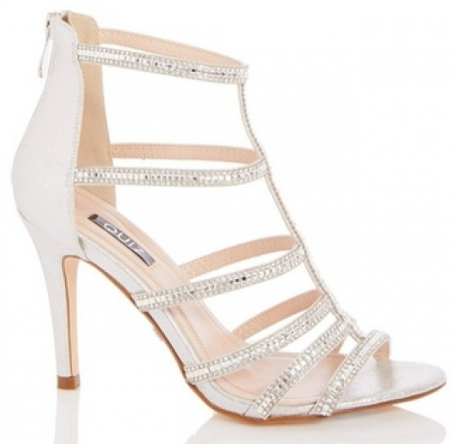 Quiz Silver Diamante Heel Sandals