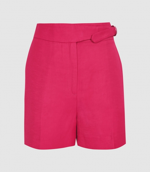 Reiss Ada - Tailored With Waist Detail Dark Pink, Womens, Size 4 Short