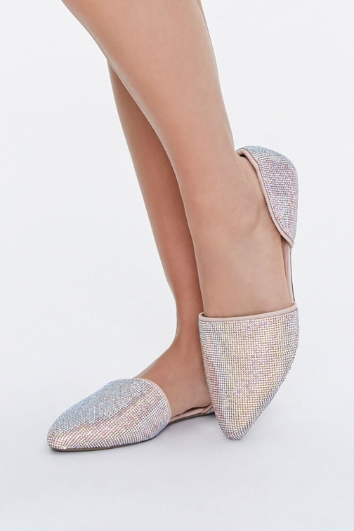 Forever21 Rhinestone Pointed At Forever 21 , Nude Flats