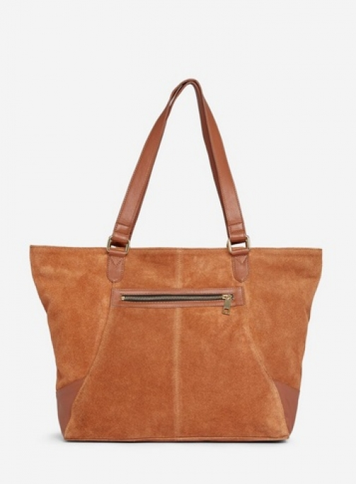 Dorothy Perkins Tan Leather Zip Front Bag Tote
