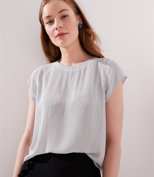 Loft Petite Striped Perforated Lacy Mixed Media Top Shirt