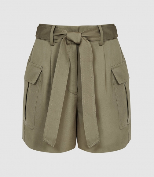 Reiss Immie - Satin Khaki, Womens, Size 4 Short