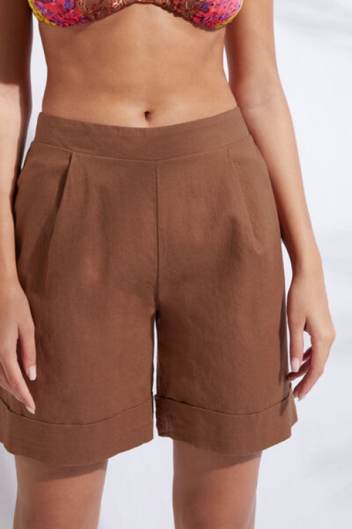 Calzedonia Cotton And Linen Woman Brown Size S Short