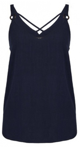 Dorothy Perkins Navy Blue Strap Camisole Top With Linen Ring