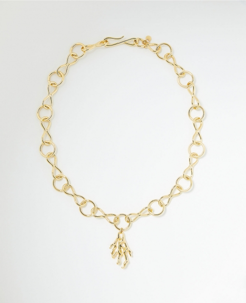 Ann Taylor Coral Metal Statement Necklace