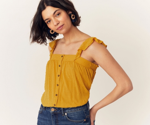Oasis Dobby Spot Frill Top