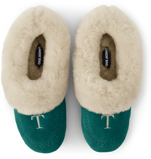 Lands' End Women's Suede Leather Shearling Fur House - Lands' End - Green - 6 Slippers