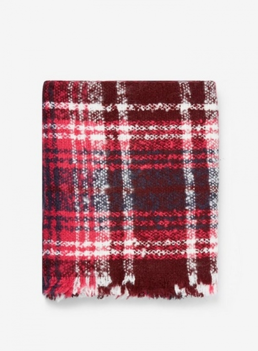 Dorothy Perkins Womens Burgandy Boucle Check - Red, Red Scarf