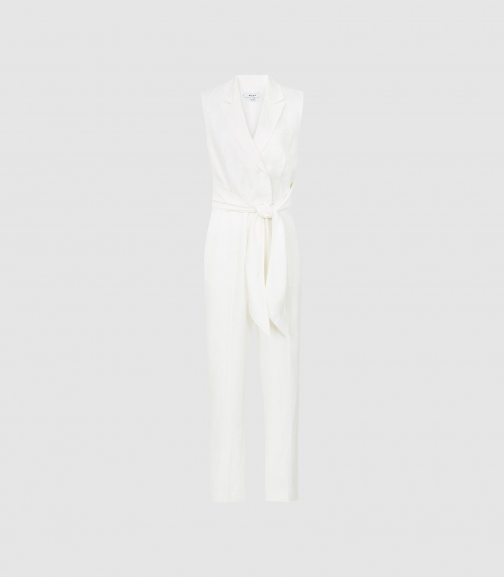 Reiss Romy - Wrap-tie Tailored White, Womens, Size 14 Jumpsuit