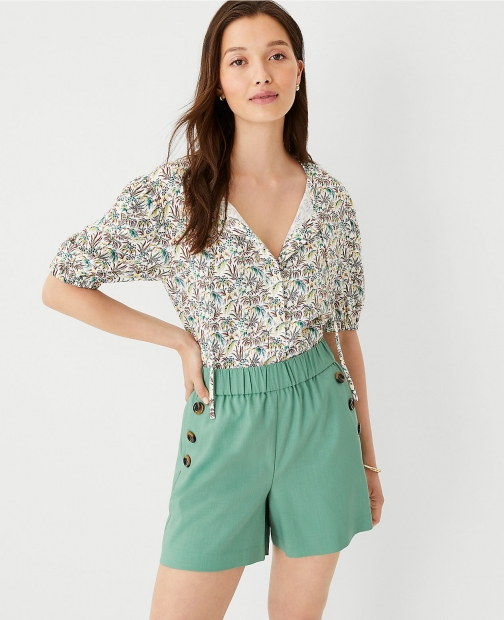 Ann Taylor Paisley Tie Neck Puff Sleeve Top