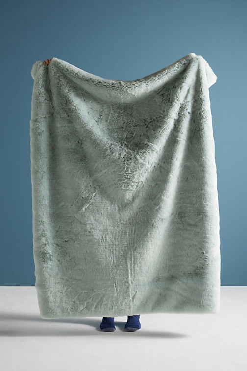 Anthropologie Fireside Faux-Fur Throw Blanket - Mint Faux Fur