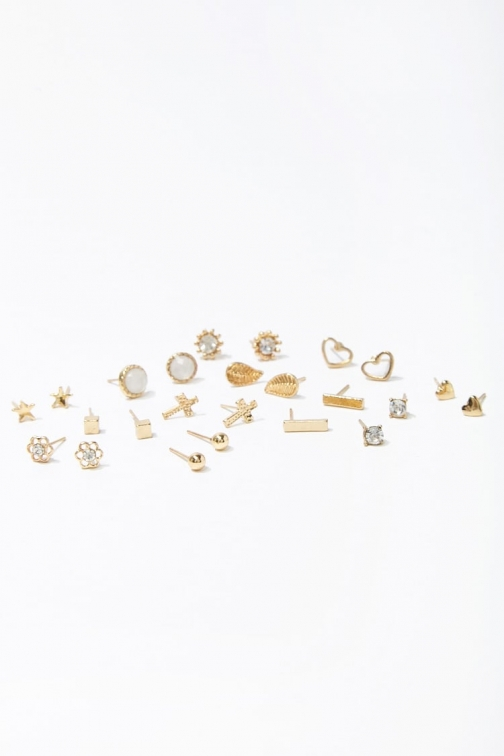 Forever21 Forever 21 Assorted Stud Earring Set , Gold/clear Jewellery