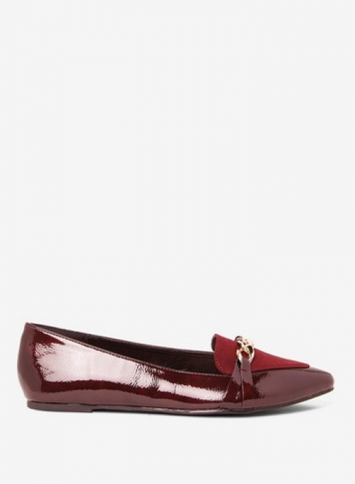 Dorothy Perkins Womens Burgundy 'Larry' Chain Embellished Pumps- Red, Red Footwear