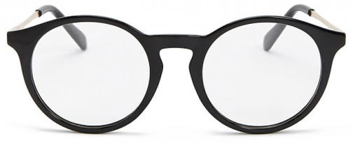 Forever21 Forever 21 Contrast Round-Eye Readers , Black/clear Eyewear