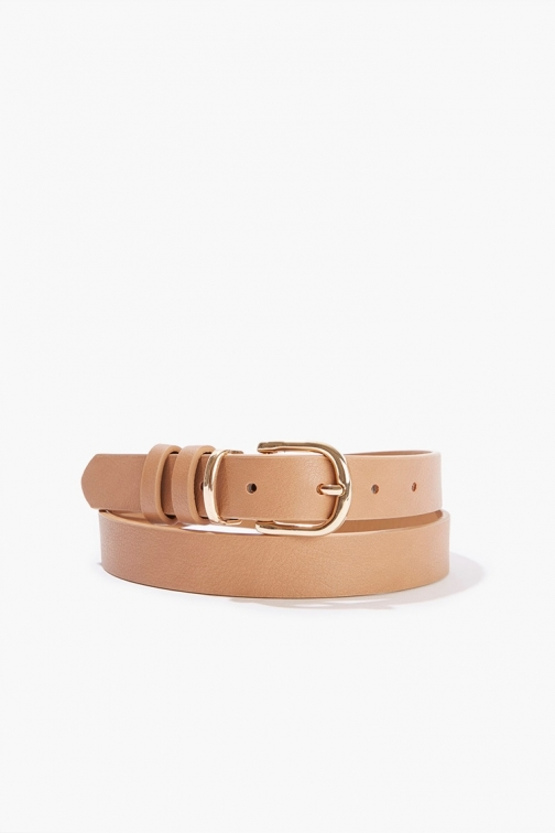 Forever21 Forever 21 Faux Leather Hip , Tan/gold Belt