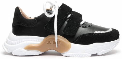 Schutz Shoes Nella Metallic Leather & Suede Sneaker - 5 Black/White Leather/Suede Trainer