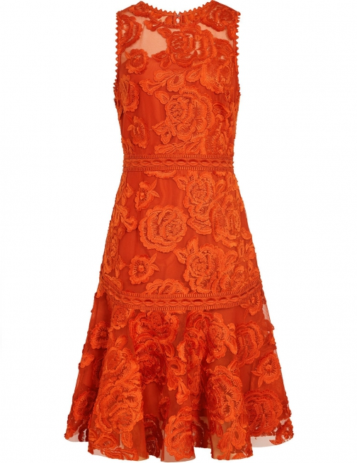 Reiss Adia - Lace Fit And Flare Winter Orange, Womens, Size 8 Dress