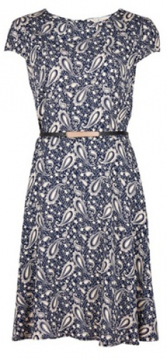 Billie & Blossom Navy Paisley Fit And Flare Dress