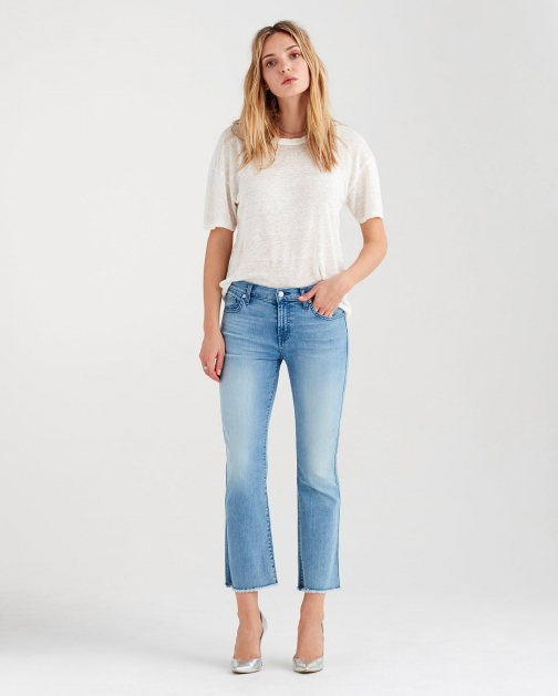7 For All Mankind B(air) Cropped With Frayed Hem Mirage Boot