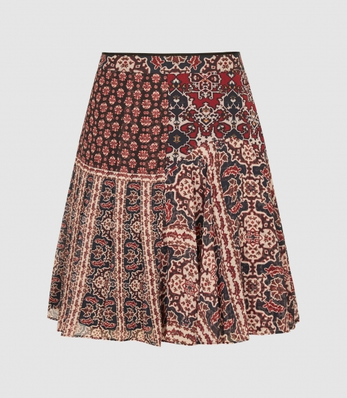 Reiss Izarra - Patchwork Printed Red, Womens, Size 8 Mini Skirt
