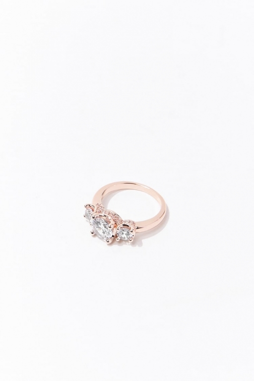 Forever21 Forever 21 Rhinestone , Rose Gold/clear Ring