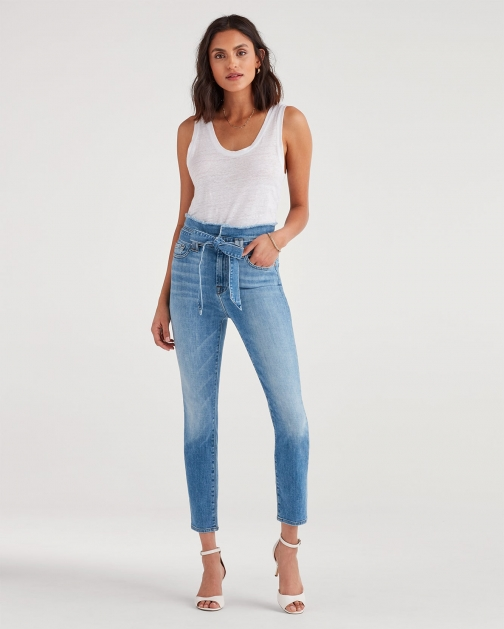 7 For All Mankind Women's Paperbag Jean Bright Blue Jay Trouser