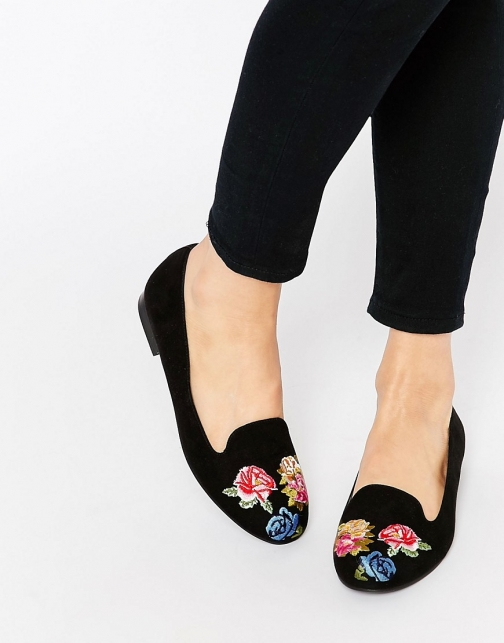 Asos MYLO Embroidered Flat Shoes