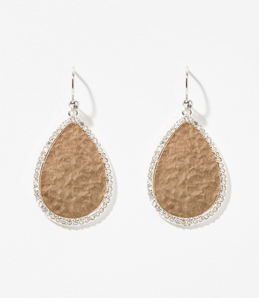 Loft Pave Bordered Teardrop Earring