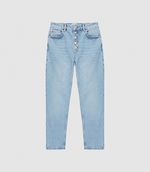 Reiss Lakely - Mid Rise Straight Pale Blue, Womens, Size 32 Jeans