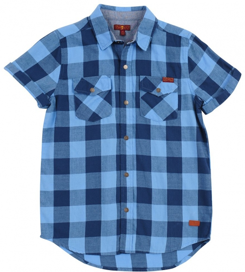 7 For All Mankind Men's Boy's 4-7 Button Down Blue Gingham Shirt
