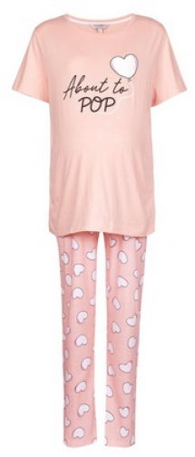 Dorothy Perkins Maternity Pink 'About To Pop' Set Pyjama
