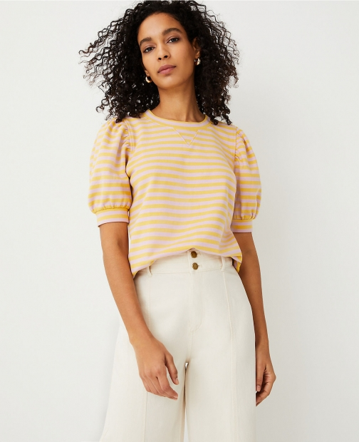 Ann Taylor Striped Puff Sleeve Sweatshirt