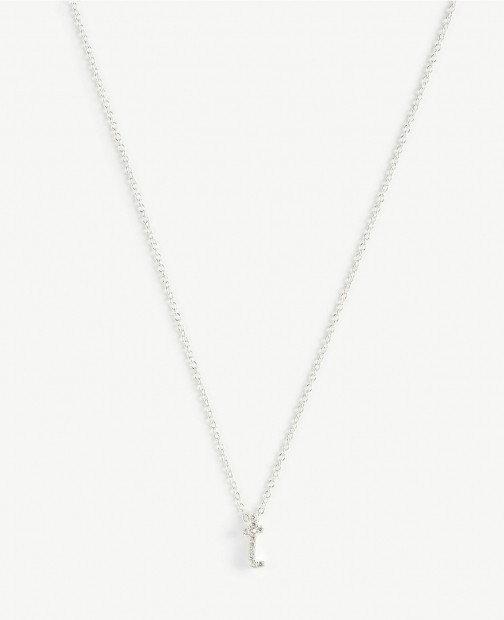 Ann Taylor Pave Sterling Silver Initial Necklace