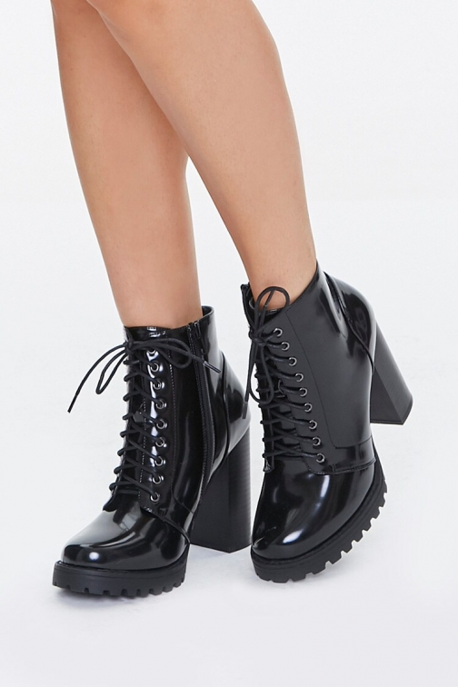 Forever21 Faux Patent Leather At Forever 21 , Black Ankle Boot
