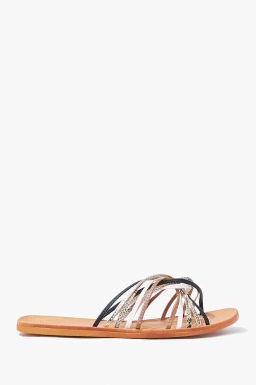 Forever21 Forever 21 Strappy Twisted , Black/multi Sandals