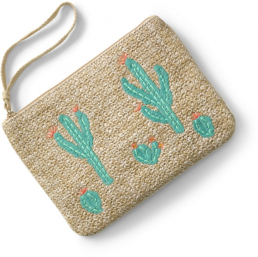Lands' End Canvas Lined Straw Medium Embroidered Zipper - Lands' End - Green Pouch