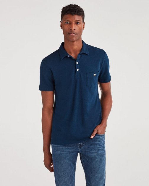 7 For All Mankind Men's Boxer Four Button Midnight Navy Polo