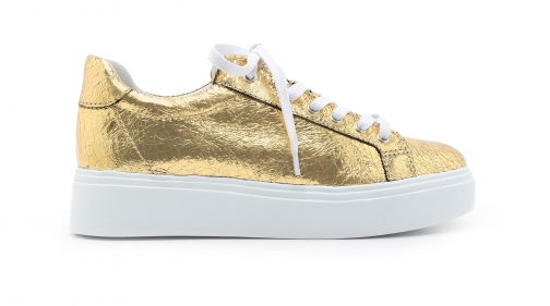 Schutz Shoes Raver Sneaker - 5 Ouro Gold Crackled Metallic Leather Trainer