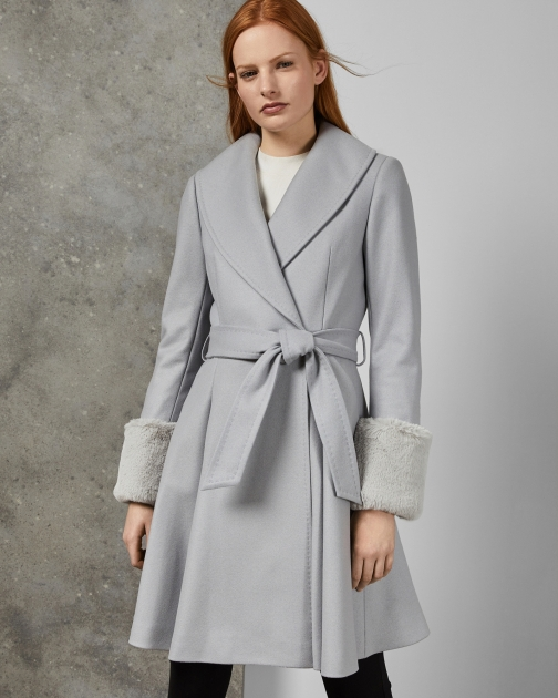 Ted Baker Wool Wrap Coat With Detachable Cuffs Jacket