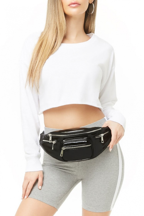 Forever21 Forever 21 Faux Patent Leather Black Fanny Pack