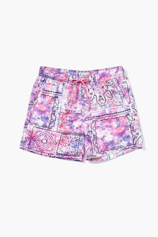 21 Men Tie-Dye Paisley At Forever 21 , Pink/white Swim Trunk