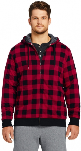 Lands' End Men's Big And Tall Pattern Serious Sweats Full Zip Sherpa - Lands' End - Red - 2XLT Hoodie