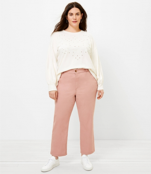 Loft The LOFT Plus Perfect Straight Pant Washed Twill Trouser