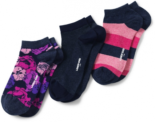 Lands' End Women's 3-Pack Seamless Toe Pattern Ankle - Lands' End - Blue - S-M Sock